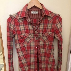 Guess flannel sexy xs
